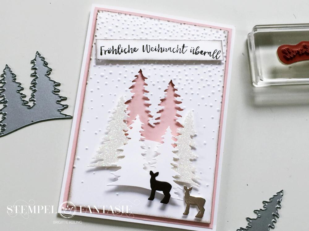 weihnachtskarte mit glitzer und rehen stempelfantasie. Black Bedroom Furniture Sets. Home Design Ideas
